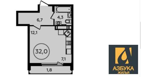 Продам 1-к квартиру, Новомосковский Административный округ, жилой . - Фото 1