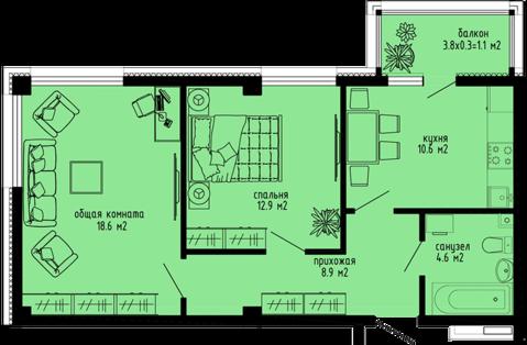 2к квартира в новом доме - Фото 3
