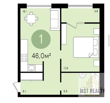 Однокомнатная квартира в новом жилом комплексе города Видное - Фото 4