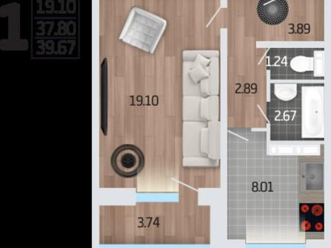 1 719 695 Руб., Продажа однокомнатной квартиры в новостройке на Корейской улице, влд6а ., Купить квартиру в Воронеже по недорогой цене, ID объекта - 320573696 - Фото 1