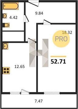 Продаётся 1 ком.кв 52.71кв.метра в ЖК Триумф на10 этаже - Фото 2
