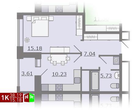 Продажа однокомнатная квартира 38.19м2 в ЖК Каменный ручей гп-4 - Фото 1