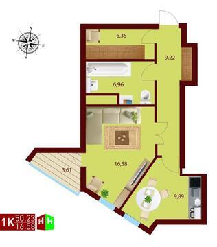 4 395 979 Руб., Продажа однокомнатная квартира 50.23м2 в ЖК монтекристо секция а, Продажа квартир в Екатеринбурге, ID объекта - 315127755 - Фото 1