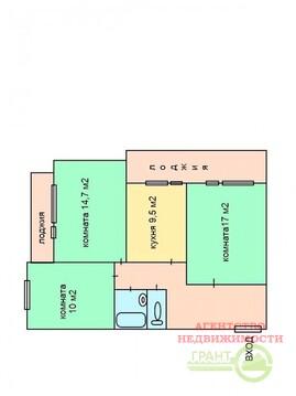 "3-х комнатная квартира в кирпичном доме 67 м2 в районе тк ""Солнечный"" - Фото 2"