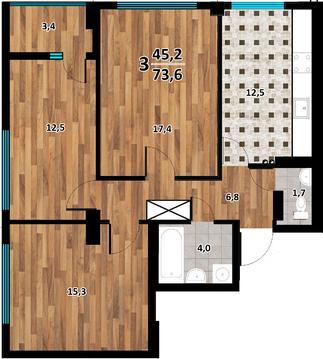 3-комн. квартира, 75,2 м2 с Видом на Море и Парк Победы - Фото 2