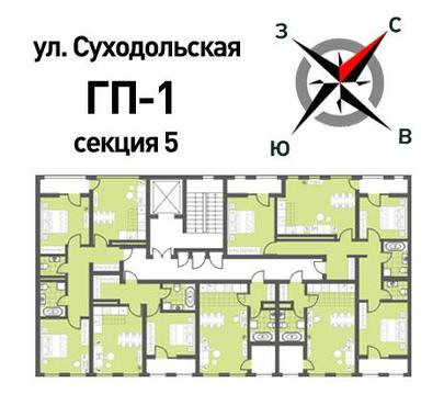 Продажа двухкомнатная квартира 59.48м2 в ЖК Суходольский квартал гп-1, . - Фото 2