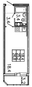 1 460 200 Руб., Продам студию. Заводская ул. к.Б, Купить квартиру Янино-1, Всеволожский район по недорогой цене, ID объекта - 318424212 - Фото 1