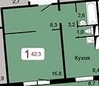 Продам 1 комн. квартиру 40,1 кв.м. ул. А.Киренского 43