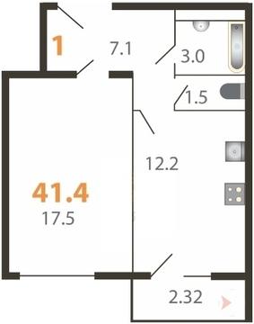 1-к квартира 41,4 м, 2/5 эт. Большие Жеребцы, мкр. Восточный к3 - Фото 1