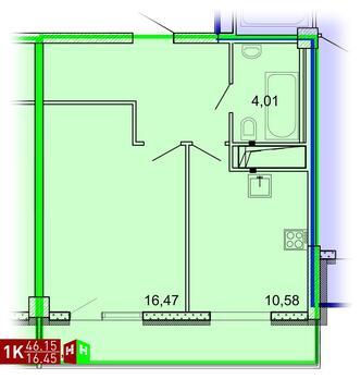 Продажа однокомнатная квартира 46.15м2 в ЖК Рощинский дом 7.1. секции . - Фото 1