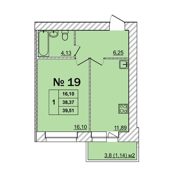 1-комнатная (39,5м2)ул.Батова у д.10 - Фото 4