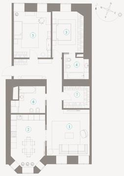"""ЖК """"Полянка,44"""", особняк Мускат, 3-х комнатная кв-ра - 115кв.м, 2 этаж - Фото 1"""