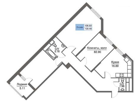 Продается 3-комн. квартира 109.48 кв. м - Фото 1