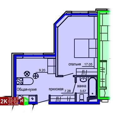 Продажа двухкомнатные апартаменты 35.87м2 в Апарт-отель Юмашева 6 - Фото 1