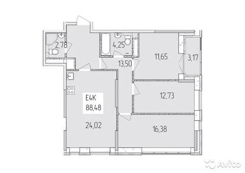 4-к квартира, 88 м, 7/17 эт. - Фото 1