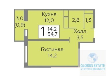 1-комнатная квартира в ЖК Зеленые Аллеи. - Фото 3