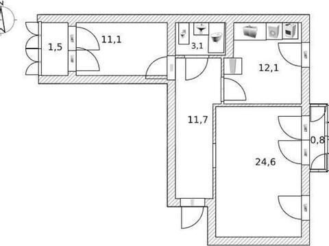 Продажа двухкомнатной квартиры на улице Гоголя, 149 в Стерлитамаке, Купить квартиру в Стерлитамаке по недорогой цене, ID объекта - 320178070 - Фото 1