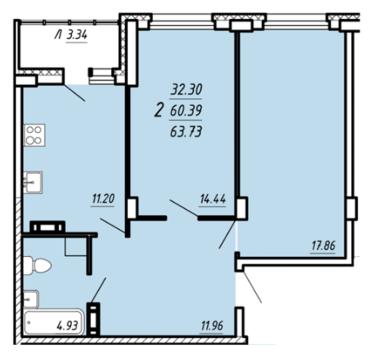 Квартира в новостройке: г.Липецк, Бехтеева улица, д.51 - Фото 1