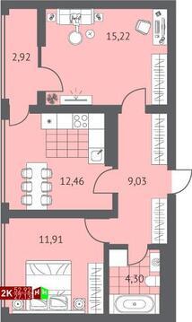 Продажа двухкомнатная квартира 52.92м2 в ЖК Суходольский квартал гп-1, . - Фото 1