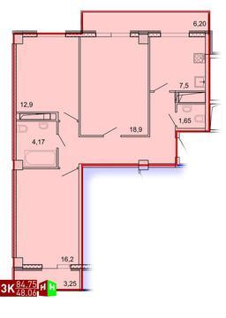 Продажа трехкомнатная квартира 84.75м2 в ЖК Рощинский дом 7.1. секции . - Фото 1