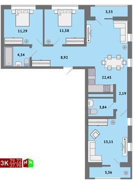 4 310 000 Руб., Продажа трехкомнатная квартира 79.72м2 в ЖК Солнечный гп-1, секция в, Купить квартиру в Екатеринбурге по недорогой цене, ID объекта - 315127812 - Фото 1