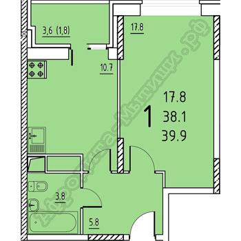 1-к квартира, улица Заречная 6, площадь 39.9, этаж 11 - Фото 1