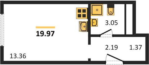 Студия 19,97 м2 в жилом комплексе Баркли Медовая долина - Фото 1
