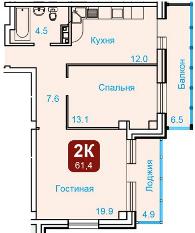 """2-комн. квартира 61.4 кв.м. в ЖК""""Октябрьская Ривьера"""" всего 2000 т.р - Фото 1"""