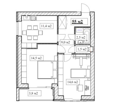 Продам 2-комнатную квартиру, 55м2, ЖК Прованс, фрунзенский р-н - Фото 5
