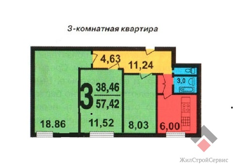 Продам 3-к квартиру, Москва г, Фестивальная улица 67 - Фото 1