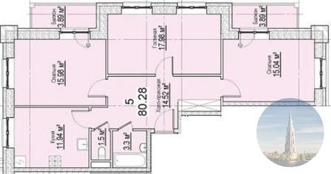 751_3. Калязин. 3-комнатная квартира 80,28 кв.м. в ЖК Берег Волги. - Фото 5