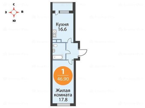Однокомнатная квартира с полной отделкой в 15 минутах от м Девяткино - Фото 1
