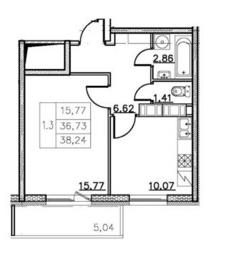Продажа 1-комнатной квартиры, 38 м2, Комендантский проспект, д. 67 - Фото 3