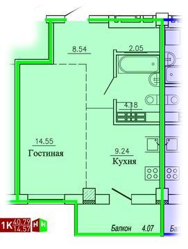 2 120 060 Руб., Продажа однокомнатная квартира 40.79м2 в ЖК Рудный секция 1.3, Купить квартиру в Екатеринбурге по недорогой цене, ID объекта - 315127715 - Фото 1