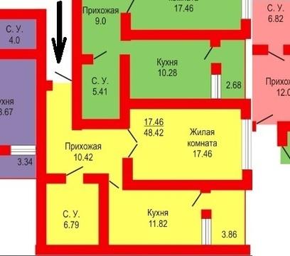 1-к большая 51 м2 квартира в Оренбуржье с чистовым ремонтом - Фото 3