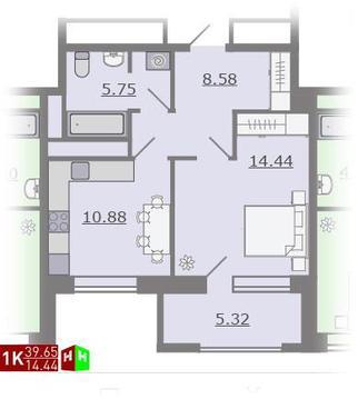 Продажа однокомнатная квартира 39.65м2 в ЖК Каменный ручей гп-3 - Фото 1