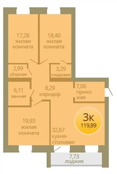 "Продаётся 3к квартира в ЖК ""6 квартал / Орион"", 120 кв.м. - Фото 3"