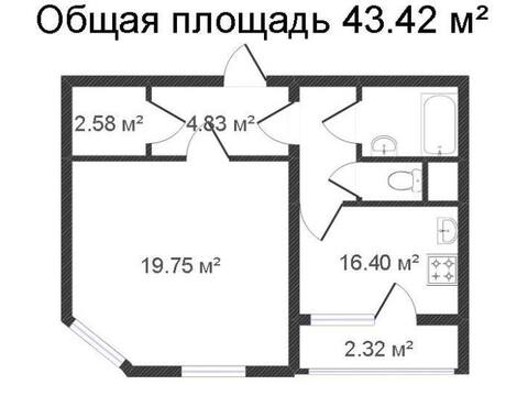 Продажа однокомнатной квартиры на Хрустальной улице, 44к2 в Калуге, Купить квартиру в Калуге по недорогой цене, ID объекта - 319812755 - Фото 1