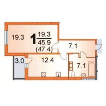 1-комнатная квартира (тип 7), город Пермь, ул. Грибоедова, 72 - Фото 2