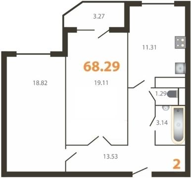 2-к квартира, 68,3 м, 3/9 эт. Щелково, Ленина кв, ЖК . - Фото 1