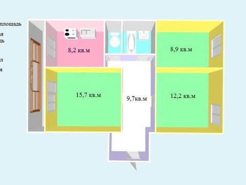 Продажа трехкомнатной квартиры на улице Доватора, 76 в Черкесске, Купить квартиру в Черкесске по недорогой цене, ID объекта - 319818821 - Фото 1