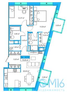 Продажа 2-комнатной квартиры, 76.85 м2 - Фото 1