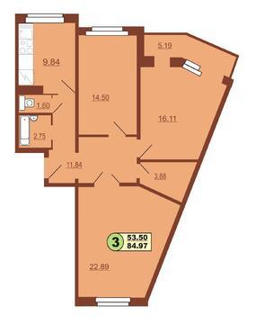 Продам 3-комн ул.Ленинского Комсомола 37, площадью 84 кв.м, на 9 эта - Фото 1