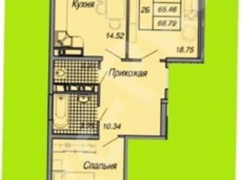 Продажа двухкомнатной квартиры на Стахановской улице, 1 в Краснодаре, Купить квартиру в Краснодаре по недорогой цене, ID объекта - 320268460 - Фото 1