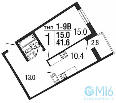 Продажа 1-комнатной квартиры, 41.6 м2 - Фото 2