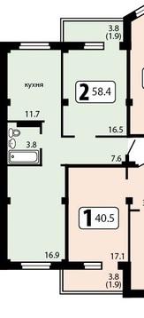 2-х комнатная крупногабаритная квартира на две стороны - Фото 1