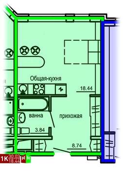 Продажа однокомнатные апартаменты 30.03м2 в Апарт-отель Юмашева 6 - Фото 1