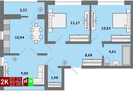 Продажа двухкомнатная квартира 57.21м2 в ЖК Солнечный гп-1, секция г - Фото 1