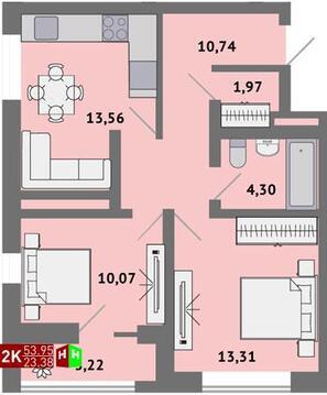3 590 000 Руб., Продажа двухкомнатная квартира 53.95м2 в ЖК Солнечный гп-1, секция ж, Купить квартиру в Екатеринбурге по недорогой цене, ID объекта - 315127564 - Фото 1