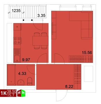 Продажа однокомнатная квартира 38.50м2 в ЖК Квартал Новаторов секция в - Фото 1